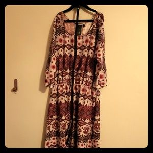 Boho patterned fall dress